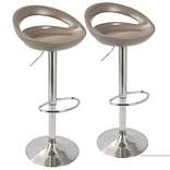 LumiSource Swizzle Contemporary Adjustable Barstool in Light Brown with Stainless Steel Finish-Set o