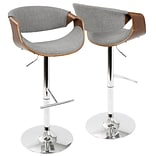 LumiSource Curvo Mid-Century Modern Adjustable Barstool in Walnut and Light Grey with Swivel (BS-CUR