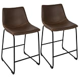 LumiSource Duke Industrial 26 Counter Stool+ in Black and Espresso with Orange Stitch-Set of 2 (B26