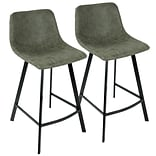LumiSource Outlaw Industrial Counter Stool in Green PU- Set of 2 (CS-OUTLW BK+GN2)