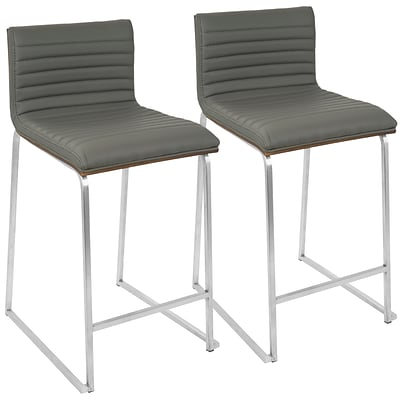 LumiSource Mara Contemporary 26 Counter Stool+ in Walnut and Grey-Set of 2 (B26-MARA WL+GY2)