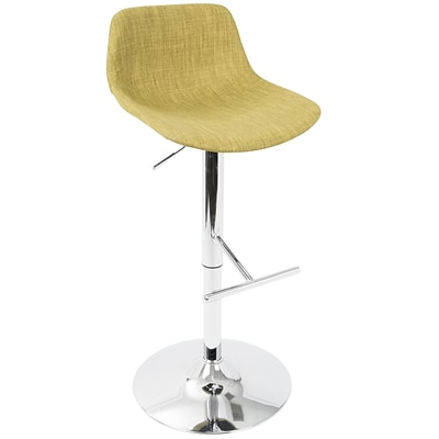LumiSource Tazza Contemporary Adjustable Barstool in Green Fabric (BS-TAZZA GN)
