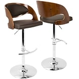 LumiSource Pino Mid-Century Modern Adjustable Barstool with Swivel in Walnut and Brown (BS-JY-PN WL+