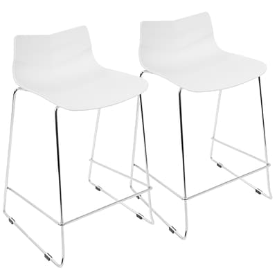 LumiSource Arrow Contemporary Counter Stool in White-Set of 2 (CS-ARROW W2)