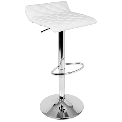 LumiSource Cavale Contemporary Quilted Adjustable Barstool in White (BS-CAVALE W)
