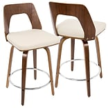 LumiSource Trilogy Mid-Century Modern Counter Stool in Walnut Wood and Cream PU (CS-TRILO WL+CR)