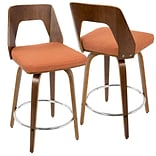 LumiSource Trilogy Mid-Century Modern Counter Stool in Walnut Wood and Orange Fabric (CS-TRILO WL+O)