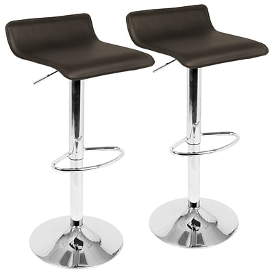 LumiSource Ale Contemporary Adjustable Barstool in Brown with Chrome footrest- Set of 2 (BS-ALE BN2)