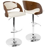 LumiSource Pino Mid-Century Modern Adjustable Barstool with Swivel in Walnut and Cream (BS-JY-PN WL+