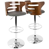 LumiSource Cosi Mid-Century Modern Adjustable Barstool in Walnut and Grey with Swivel (BS-COSI WL+GY
