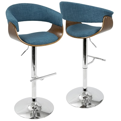 LumiSource Vintage Mod Mid-Century Modern Adjustable Barstool in Walnut and Blue with Swivel (BS-VMO WL+BU)