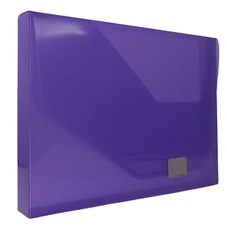 JAM Paper® Plastic Box Portfolio with Side Buckle, 9.75 x 13.5 x 1.5, Purple, Sold Individually (527