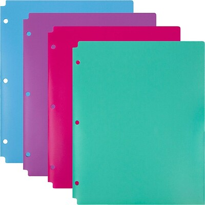 JAM Paper® 3 Hole Punched Plastic 2 Pocket School Folders, Assorted Colors, 4/pack (297433497)