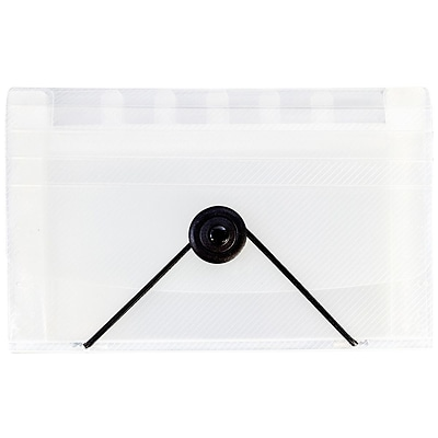 JAM Paper® Coupon Expanding File, 13 Pockets, 4.25 x 6.75, Clear, Sold individually (340133473)