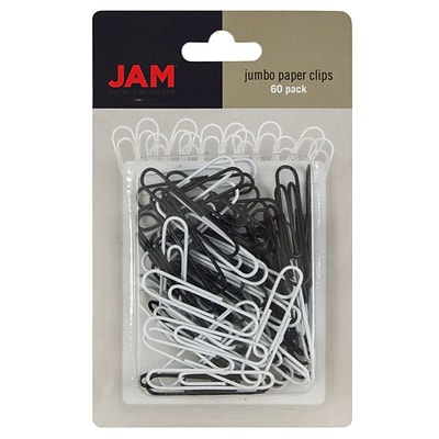 JAM Paper® Colored Jumbo Paper Clips, Assorted Black/White Paperclips, 60/Pack (352333545)