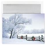 JAM Paper® Christmas Card Set, Winter Fence Christmas Cards, 16/pack (526M1040MB)