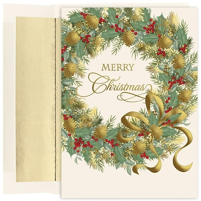 Jam paper christmas card set traditional christmas wreath jam paper christmas card set traditional christmas wreath christmas cards 16pack m4hsunfo