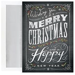 JAM Paper® Christmas Card Set, Chalkboard Greetings Christmas Cards, 16/pack (526M1028MB)