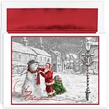 JAM Paper® Christmas Card Set, Santa & Snowman Holiday Cards, 18/pack (526897700)