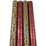 JAM Paper® Christmas Design Wrapping Paper - Traditional Christmas - 180 Sq Ft. - 4/pack