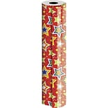 JAM Paper® Industrial Size Wrapping Paper Rolls, Starry Red, 1/4 Ream (416 Sq. Ft), Sold Individuall