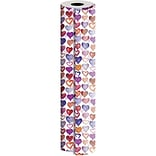 JAM Paper® Industrial Size Wrapping Paper Rolls, Lovely Lovely Hearts, 1/2 Ream (834 Sq. Ft), Sold I