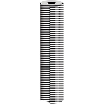 JAM Paper® Industrial Size Wrapping Paper Rolls, Black White Stripe, 1/4 Ream, 416 sq. ft., Sold Individually (165J44924208)