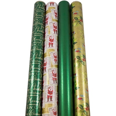 JAM Paper® Christmas Design Wrapping Paper - Lush Christmas - 180 Sq Ft. - 4/pack