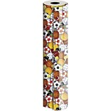 JAM Paper® Industrial Size Wrapping Paper Rolls, Play Ball, Full Ream (2082.5 Sq. Ft), Sold Individu