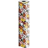 JAM Paper® Industrial Size Wrapping Paper Rolls, Play Ball, Full Ream (1666 Sq. Ft), Sold Individual