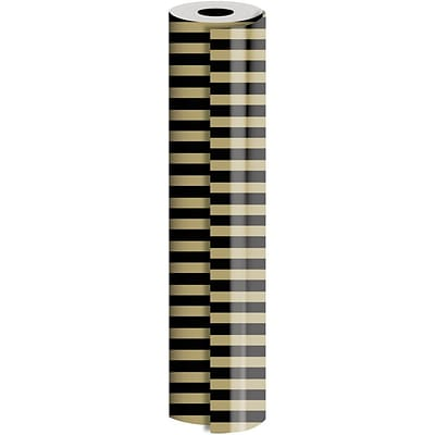 JAM Paper® Industrial Size Wrapping Paper Rolls, Black Gold Stripe, Full Ream (1666 Sq. Ft), Sold Individually (165J43724833)