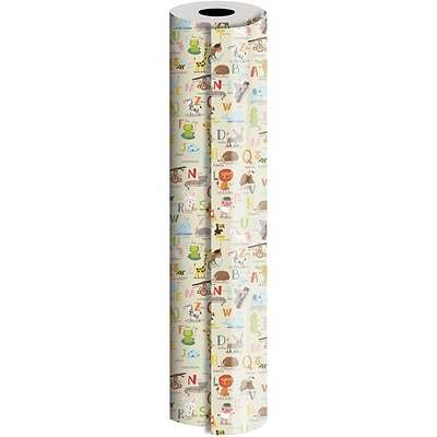 JAM Paper® Industrial Size Wrapping Paper Rolls, Alphabet Animals, Full Ream (1666 Sq. Ft), Sold Individually (165J30924833)
