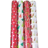 JAM Paper® Christmas Design Wrapping Paper - North Pole Christmas - 180 Sq Ft. - 4/pack