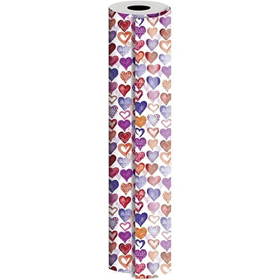 JAM Paper® Industrial Size Wrapping Paper Rolls, Lovely  Hearts, Full Ream (1666 Sq. Ft), Single Roll (165J45424833)