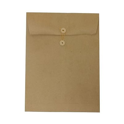 JAM Paper® 9 x 12 Open End Envelope with Button and String Tie Closure, Brown Kraft Paper Bag Recycled, 50/pack (312611142i)