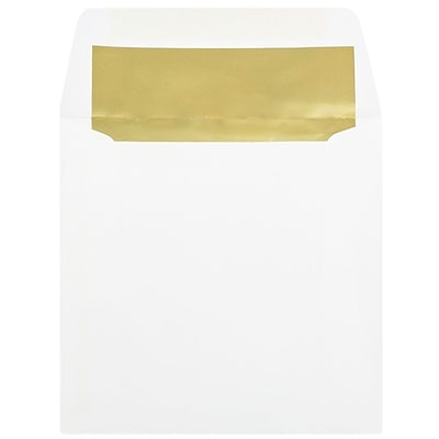 JAM Paper® 6 x 6 Square Foil Lined Evelopes, White with Gold Foil Lining, 50/pack (3244689i)