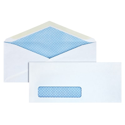 Quill Brand® Gummed Security Tinted #10 Envelope, 4-1/8 x 9-1/2, White, 500/Box (10CW)