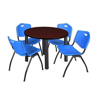 Regency Kee 36 Round Breakroom Table- Mahogany/ Black & 4 M Stack Chairs- Blue (TB36RDMHPBK47BE)