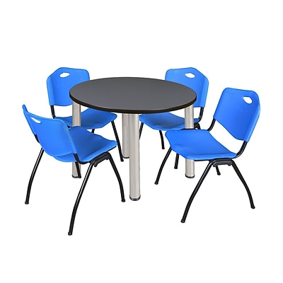 Regency Kee 36 Round Breakroom Table- Grey/ Chrome & 4 M Stack Chairs- Blue (TB36RDGYPCM47BE)