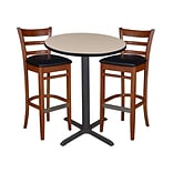Regency 30 Round Café Table- Beige & 2 Zoe Café Stools- Cherry/Black (TCB30RDBE95)