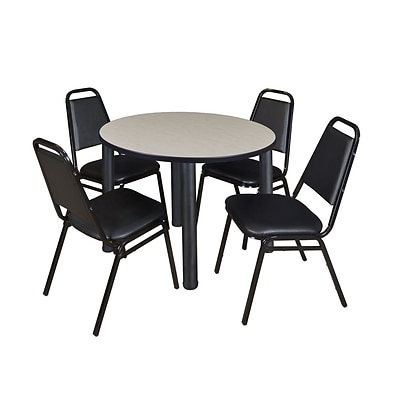 Regency Kee 36 Round Breakroom Table- Maple/ Black & 4 Restaurant Stack Chairs- Black (TB36RDPLPBK29BK)