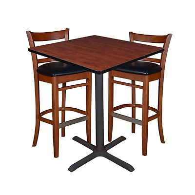 Regency 36 Square Café Table- Cherry & 2 Zoe Café Stools- Cherry/Black (TCB3636CH95)