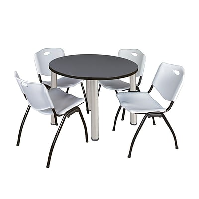 Regency Kee 36 Round Breakroom Table- Grey/ Chrome & 4 M Stack Chairs- Grey (TB36RDGYPCM47GY)