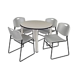 Regency Kee 36 Round Breakroom Table- Maple/ Chrome & 4 Zeng Stack Chairs- Grey (TB36RDPLPCM44GY)