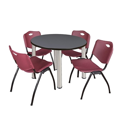 Regency Kee 36 Round Breakroom Table- Grey/ Chrome & 4 M Stack Chairs- Burgundy (TB36RDGYPCM47BY)