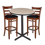 Regency 36 Round Café Table- Beige & 2 Zoe Café Stools- Cherry/Black (TCB36RDBE95)