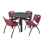 Regency Kee 36 Round Breakroom Table- Grey/ Black & 4 M Stack Chairs- Burgundy (TB36RDGYPBK47BY)
