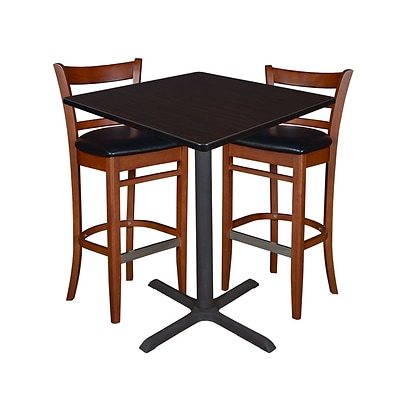 Regency 36 Square Café Table- Mocha Walnut & 2 Zoe Café Stools- Cherry/Black (TCB3636MW95)