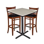 Regency 36 Square Café Table- Maple & 2 Zoe Café Stools- Cherry/Black (TCB3636PL95)