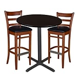 Regency 36 Round Café Table- Mocha Walnut & 2 Zoe Café Stools- Cherry/Black (TCB36RDMW95)